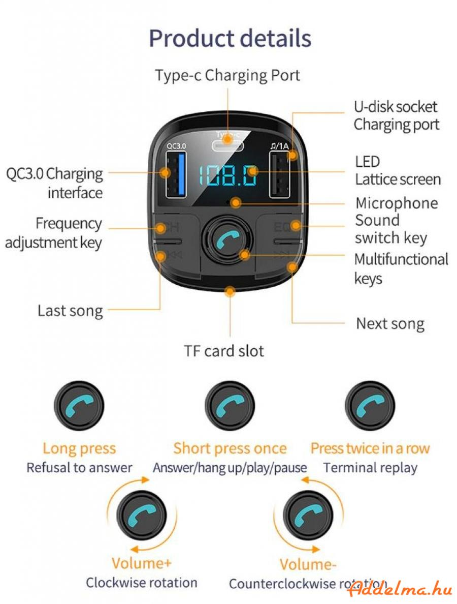 Onever Dual USB & Type-C FM Transzmitter Bluetooth 5.0 autós töltő