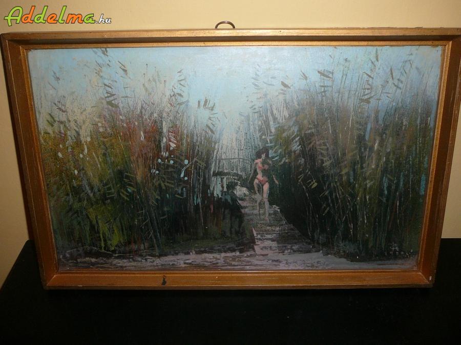 Festmény  Pogány Géza : Lány a nádasban