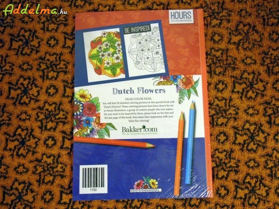 Felnőtt virágos színezőkönyv, 50 rajzzal
