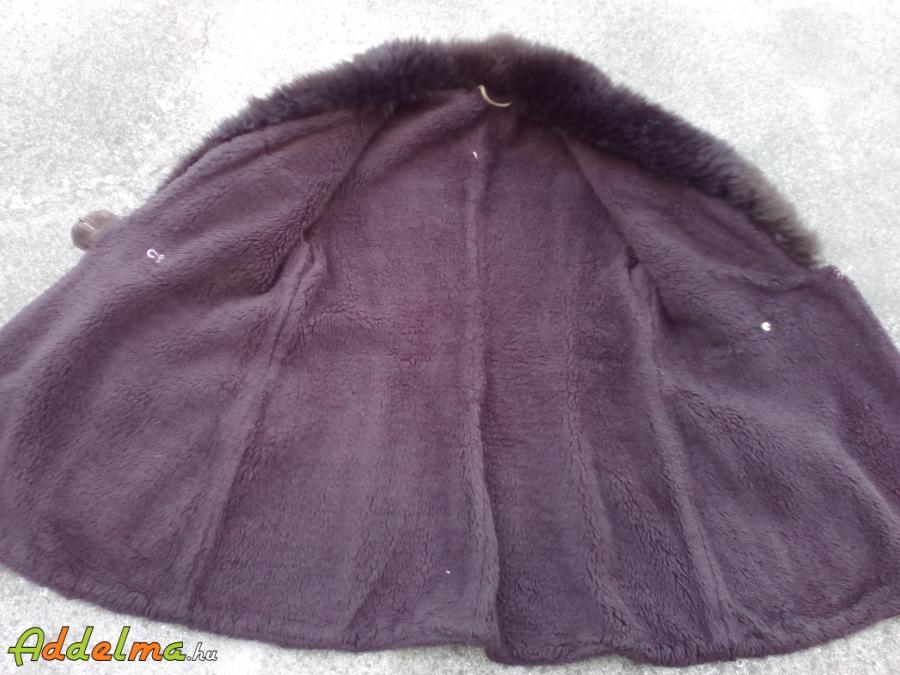 Barna sálgalléros velúr bunda/kabát 48-as műszőrme béléssel