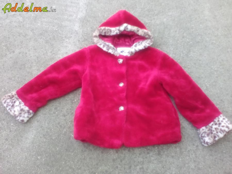 Piros színű kapucnis kislány műszőrme bunda kb. 134-es