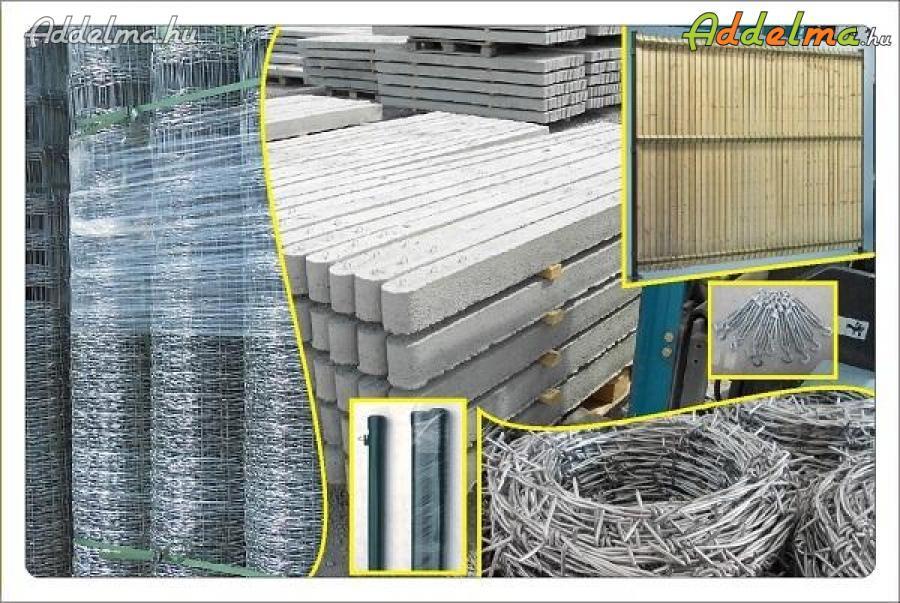 vadháló drótfonat kerítés fa oszlop betonoszlop