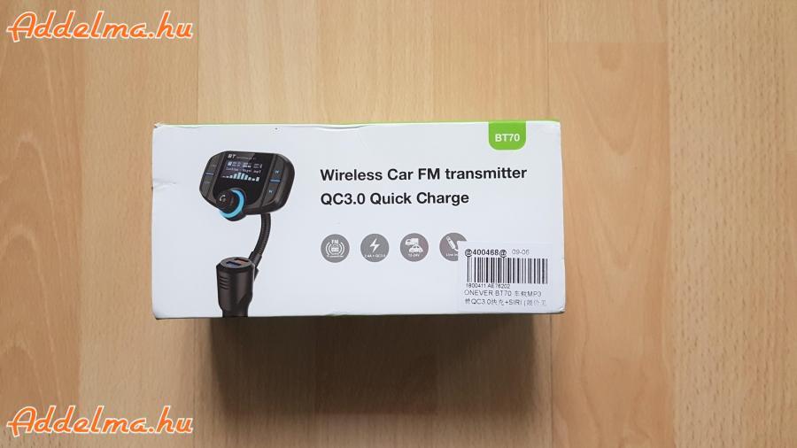 Onever Dual USB QC3.0 Bluetooth 4.2 FM Transzmitter with Siri töltő