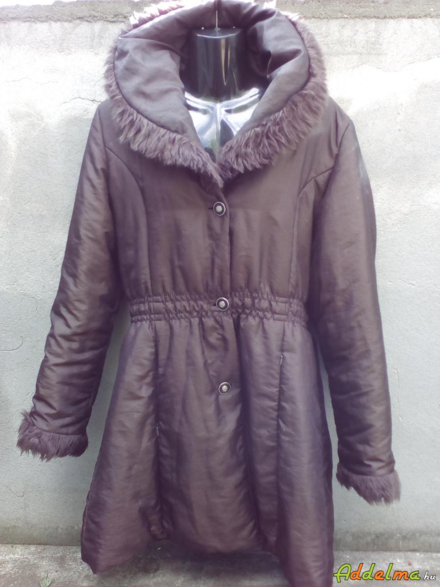 Barna kacsúsított átmeneti kabát nagy gallérral XL-es