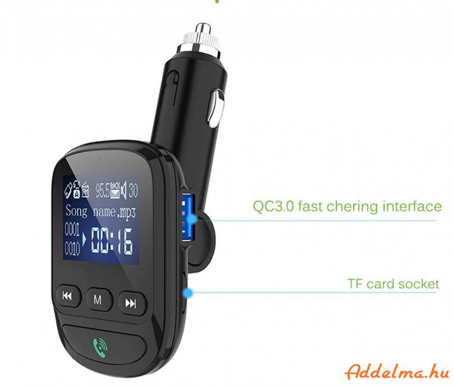 Onever Bluetooth 5.0 QC3.0 Fm Transzmitter Dual USB autós töltő