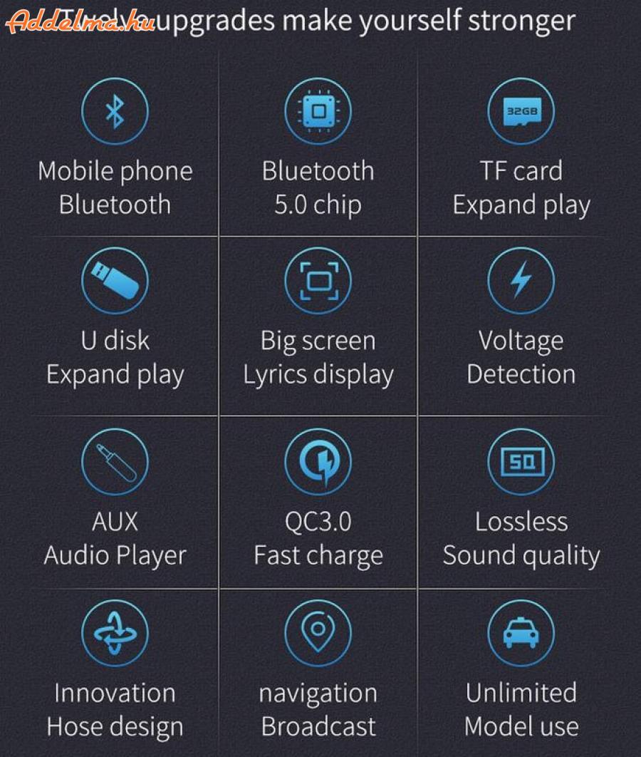 Dual USB FM Transzmitter QC3.0 Bluetooth 5.0 FM autós töltő
