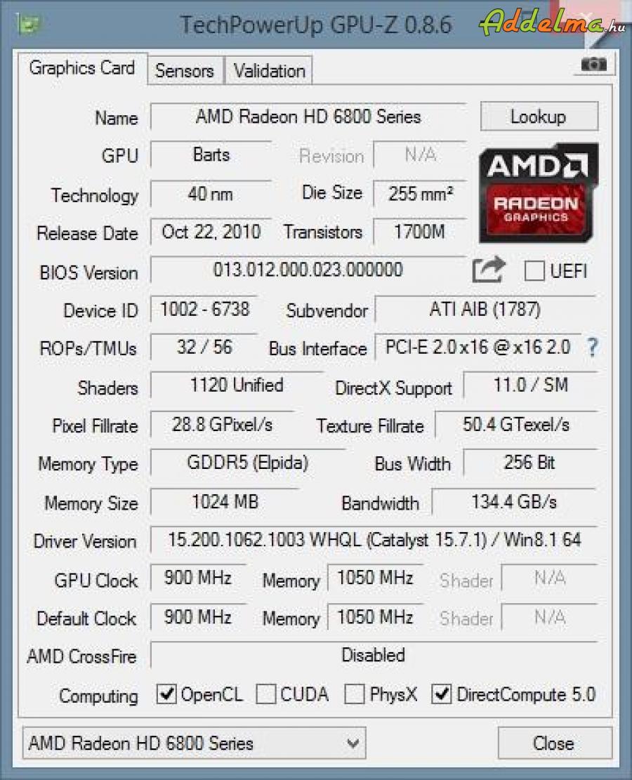 Vtx3d Radeon hd 6870 X2 2x256bit 2gb  videókártya, igazi ritkaság