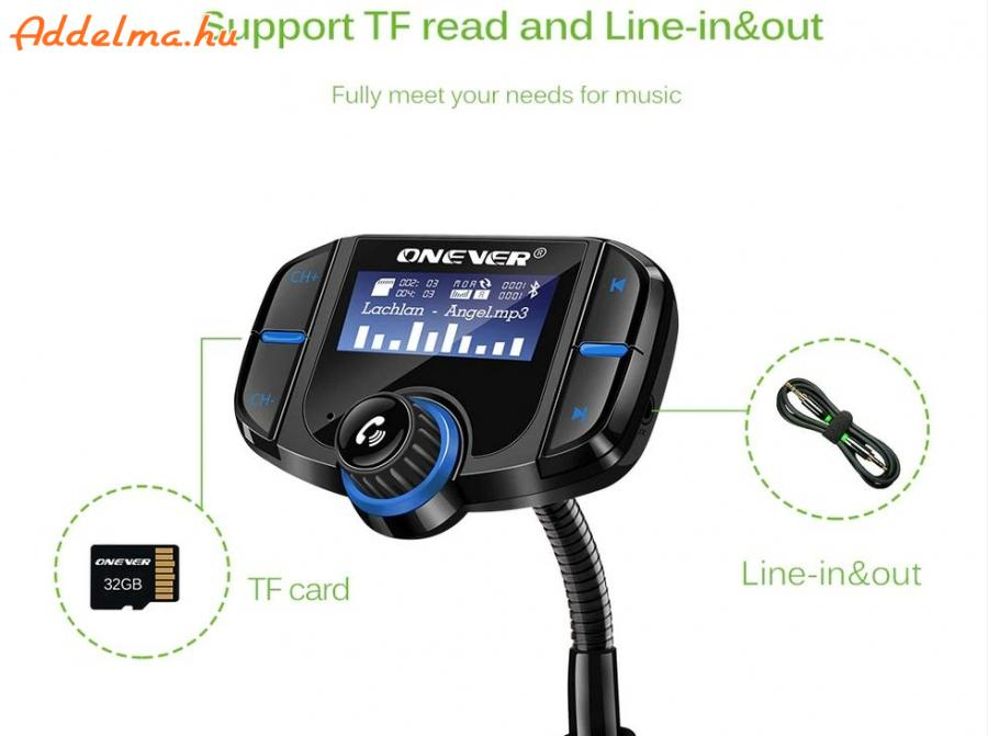 Onever QC3.0 Bluetooth 4.2 FM Transzmitter USB autós töltő