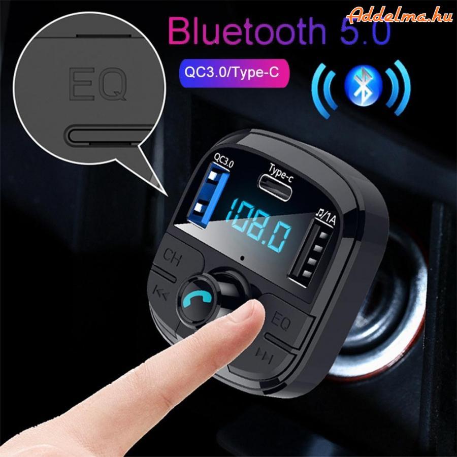Dual USB & Type-C FM Transzmitter Bluetooth 5.0 autós töltő Mp3