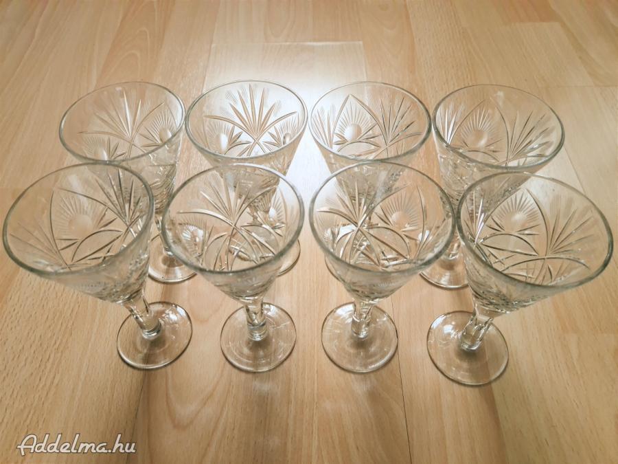 8db boros pezsgős kristály pohár 1,25dl