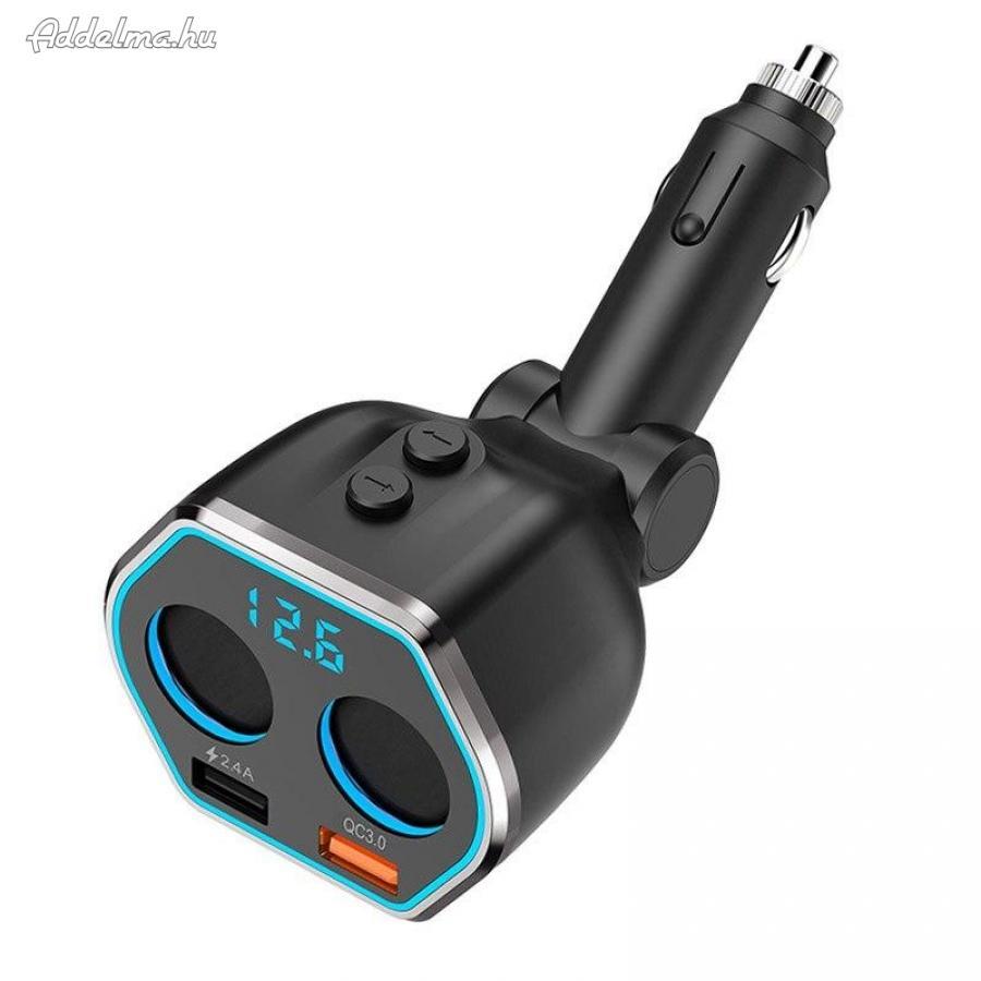 A21 Dual USB 2.4A + QC3.0 szivargyujtó elosztó foglalat töltő 80W