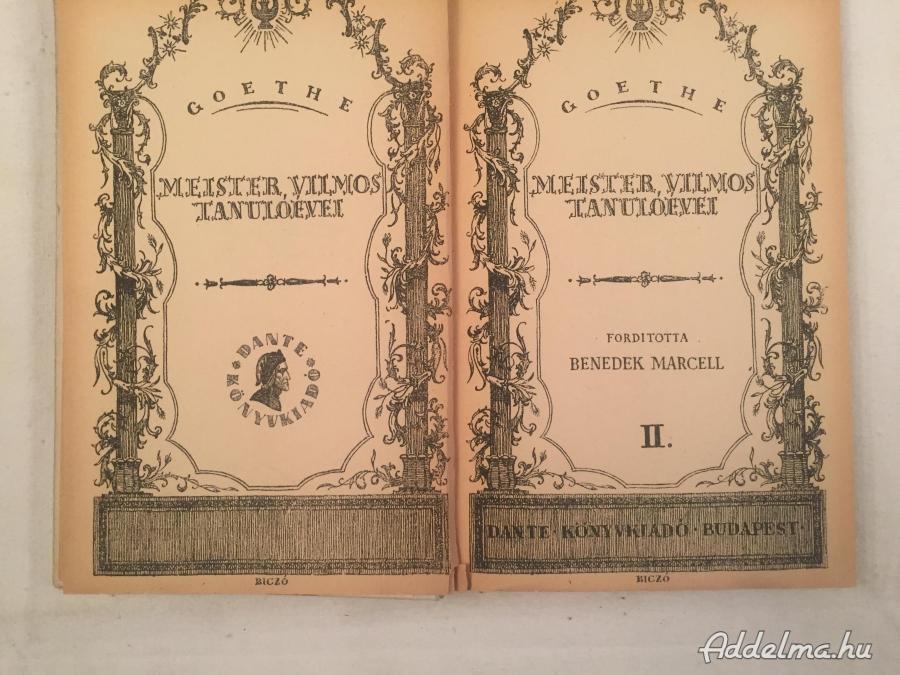 Goethe:Meister Vilmos Tanulóévei I-II.