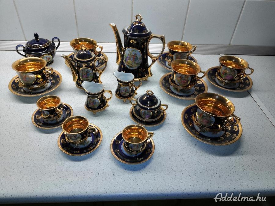 Kobaldkék porcelán teás és kávés készlet
