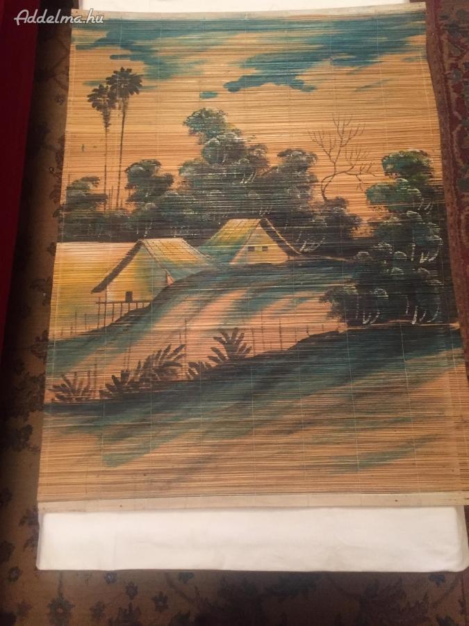 Nádszövetre festett tájkép Távol keleti