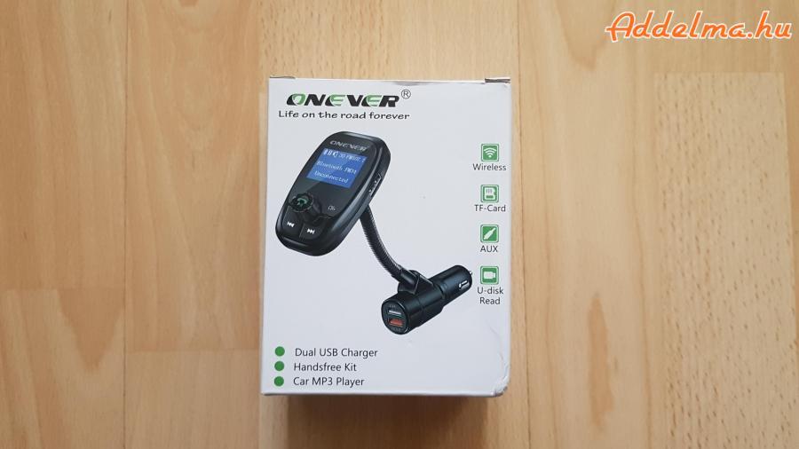 Onever Dual USB QC 3.0 Bluetooth 4.1 FM Transzmitter autós töltő