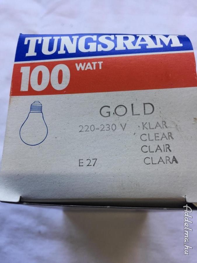 Tungsram 100 W os E 27-es Tető tükrös aranyszínű izzó