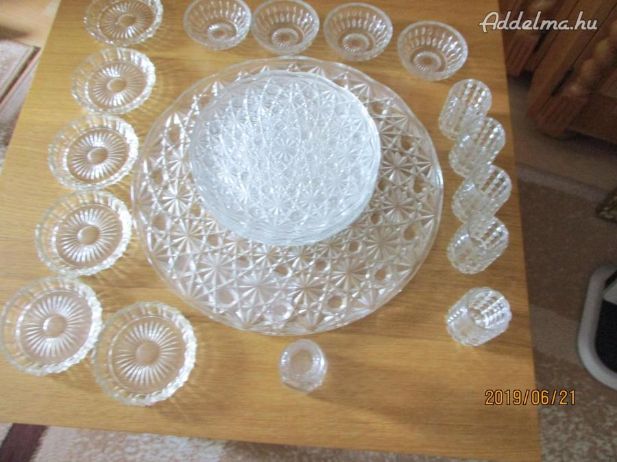 Üveg süteményes készlet