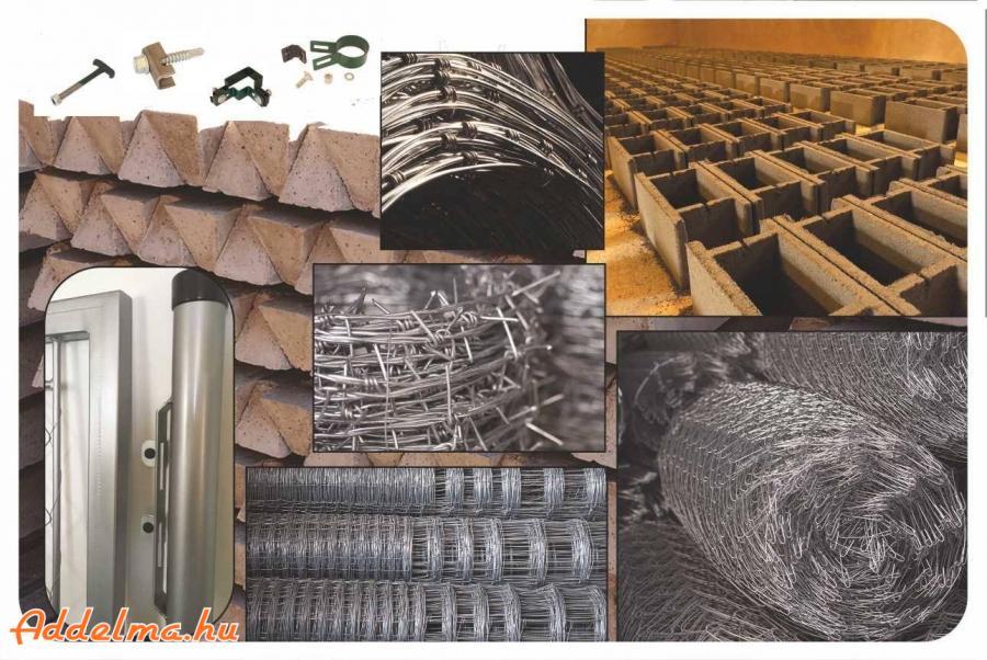 Vadkerítés drótfonat szögesdrót betonoszlop kerítés építés