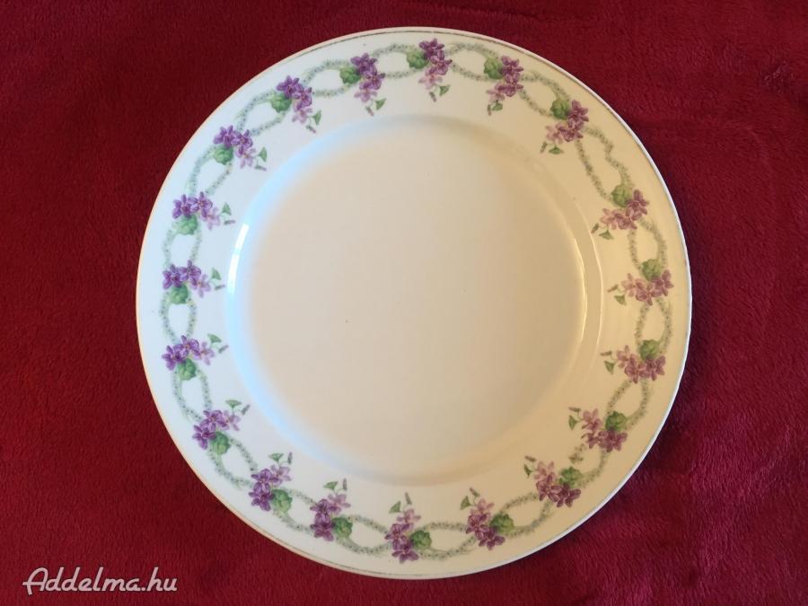 Zsolnay  sorszámozott antik süteményes tál, lila ibolya mintával